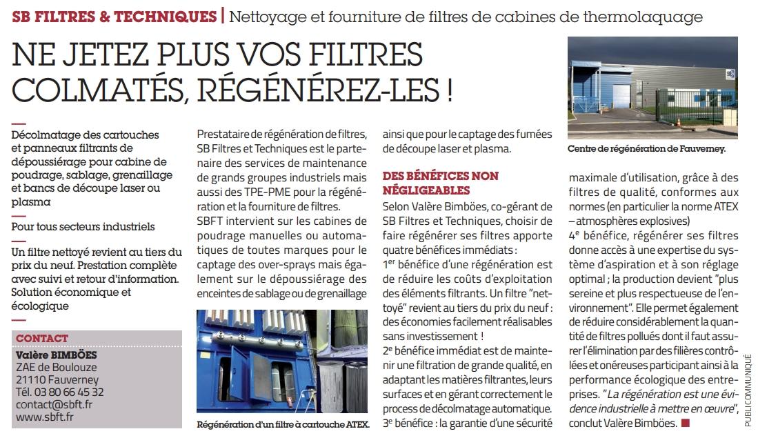 publication usine nouvelle regeneration de filtres